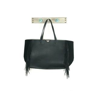 Victorias Secret Large Black Shopper Tote Fringe